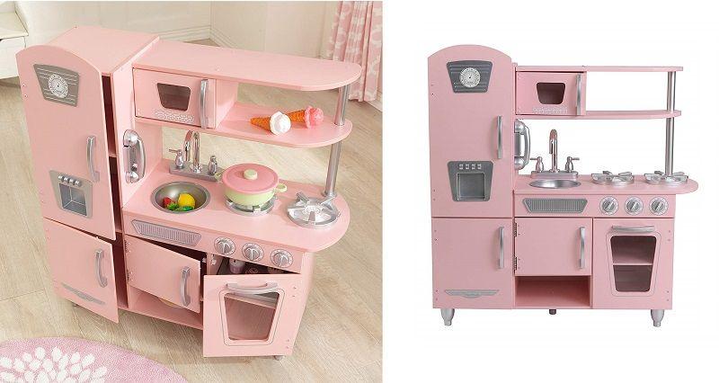 cocinita infantil rosa de madera completa grande